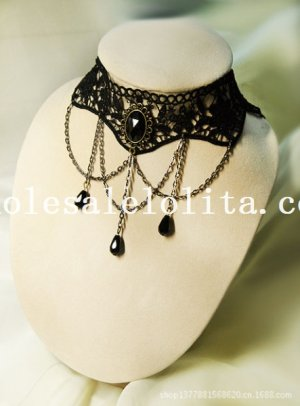 Vintage Fashion Gem Pendant Chain Black Lace Gothic Necklace for Gift