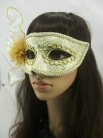 Charming Light Green Masquerade Ball Mask with Flower