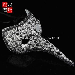 Halloween Black and White Long Nosed Masquerade Mask