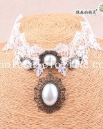 Hotsale Charm White Lace Pearl Pendant Collar Choker Necklace for Wedding Prom