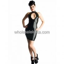 Sexy Black Chest Hollow Out Latex Mini Dress