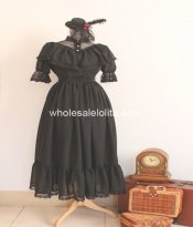 Royal Court Gothic Black Chiffon Mori Girl Lolia Dress