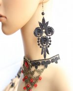Gothic Black Lace Lolita Earrings MTE16
