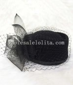 Fashion Black Wool Veiled Stewardess Cap