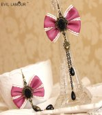 Lace Pearl Crystal Gothic Lolita Earrings HE-16
