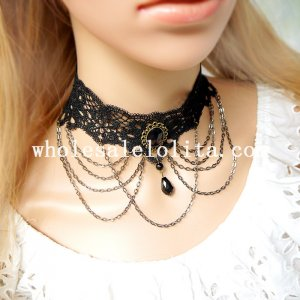 Women's Vintage Gothic White Lace Collar Choker Gem Pendant Chain Necklace