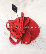 New Black Wool Feather Ladies British Party Hat