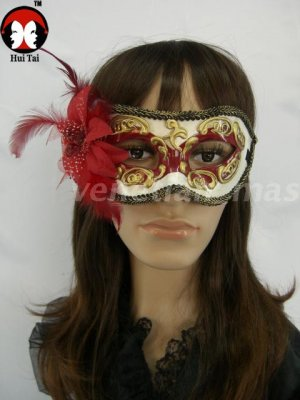 Manual Red Costume Party Mask with Flower