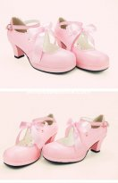 Sweet Ribbon Bow 6cm High Heel Round Toe Princess Shoes