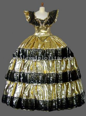 Champagne and Black Italy Venice Carnival Costume Masquerade Costume Long Gown