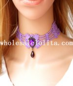 Handmade Purple Lace Collar Choker Necklace with Gem Pendant for Women