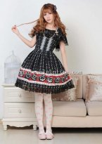 Cheap Black Halloween Pumpkins Print Gothic Lolita Dress JSK