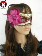 Manual Purple Golden Flower Costume Party Mask