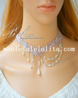 Beautiful Grey/Pink Lace Pearl Pendant Chain Necklace for Gifts