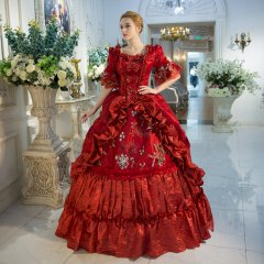 Classic 18th Century Marie Antoinette Drama Theater Red Court Dress