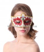 Venetian Cosplay Crown Shaped Masquerade Mask with Glitter Swan