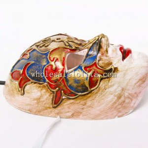 Full Face Hollowen Masquerade Mask with Manmade Pattern for Adults in Gold/Blue/Red Color
