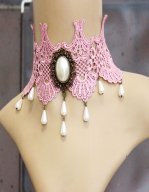 Gothic Pink Gem Lace Lolita Necklace MTN06