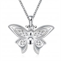 Fashionable Platinum Necklace with Beaded Butterfly Pendant for Versatile Occasions