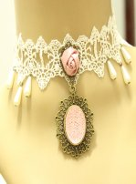 Gothic Pink Crystal Lace Lolita Necklace