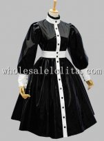New Arrival Gothic Black and White Patent Leather Victorian Inspired Dress