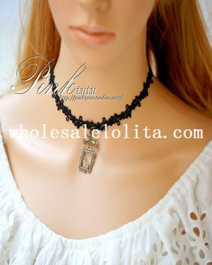 Fashion Vintage Black Lace Collar Choker Copper Rabbit Pendant Necklace for Women's Gift