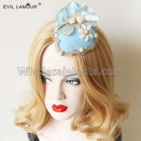 Vintage Gothic Sky Blue Lace Headdress Masquerade Accessories