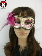 Manual Purple Feather Costume Party Mask