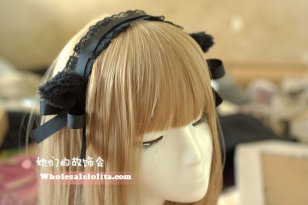 Cosplay French Maid Lace Handmade Cat Ears Lolita Handband