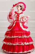 18th Century Rococo Style Marie Antoinette Inspired Prom Dress Wedding Ball Gown Deep Rose