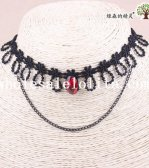 Hotsale Black Lace Collar Choker Necklace Pendant with Red Gem