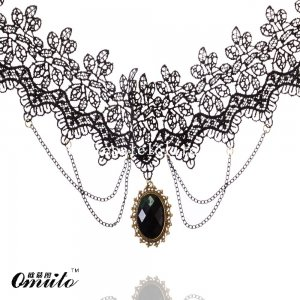 Fashion Gothic Lace Pendant Chain Necklace with Black Gem for Prom
