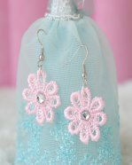 Gothic Pink Lace Lolita Earrings MTE04