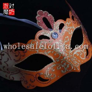 Burlesque-Boutique Laser Cut Orange Venetian Mask with Rhinestone