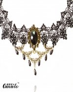 Black Vintage Gothic Lace Pendant Necklace with Gem for Jewelry Accessory