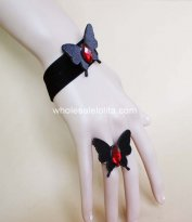 Gothic Black & Red Bufferfly Halloween Bracelet & Ring