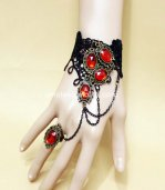 Gothic Retro Black Lace Red Ruby Halloween Vampire Cosplay Bracelet & Ring