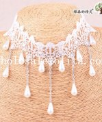 Bride's/Bridesmaid's Beautiful Royal White Lace Collar Choker Pendant Necklace