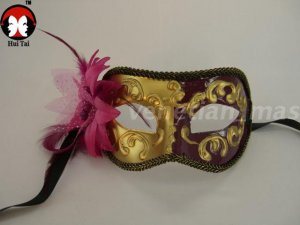 Manual Red Purple Feather Costume Party Mask