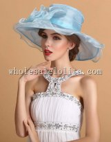 Elegant Sky Blue Ladies Big Brim British Kentucky Derby Hat