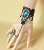 Mysterious Gothic Black Lace Blue Gem Bracelet & Ring