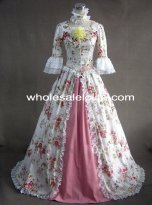Renaissance Cotton Floral Print Prom Dress Ball Gown Reenactment Clothing Pink