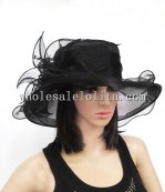 Black/White Organza Dressy Covered Brim Ladies British Hat