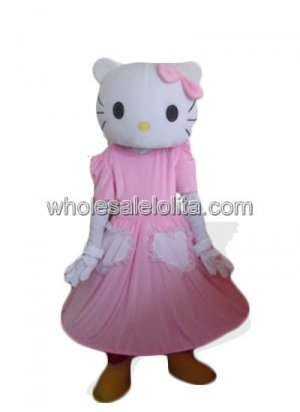 Adult Hello Kitty Pink Dress Mascot Costume