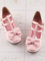Sweet Pink Bow PU 3cm Low Chunky Heel Buckles Lolita Shoes