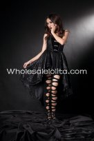 Black High-low Hemlines Bacless Gothic Lolita Dress
