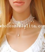 Fashion White Lace Gothic Collar Choker Pearl Pendant Necklace for Bride's Accessory