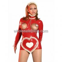 Sexy Red Open Bust Latex Maid Costume