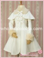 Hot Sale Milk White Wool Hooded Sweet Lolita Coat