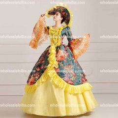 18th Century Rococo Style Marie Antoinette Inspired Yellow Prom Dress Wedding Ball Gown